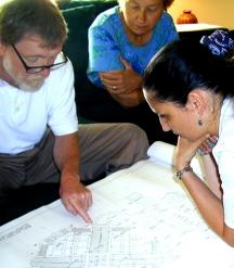 Committee member Jan Tartabini and mosaic artist Helen McLean soak up information from architect Bill Beard